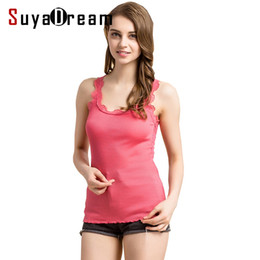 $enCountryForm.capitalKeyWord Australia - Women Lace Tanks 70%real Silk 30%cotton Lace Tank Tops Sleeveless Bottoming Shirt New Vest Solid Color White Black Pink Y19042801