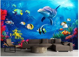 Discount underwater painting - Custom photo wallpapers 3d mural wallpaper Underwater world 3D stereo dolphin living room TV background wall painting wa