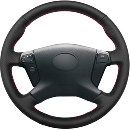 China Black Genuine Leather DIY Hand-stitched Car Steering Wheel Cover for Toyota Avensis 2003-2007 supplier toyota leather steering wheel suppliers