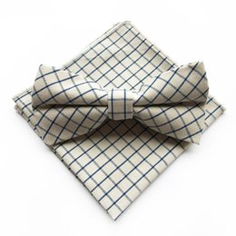 polka dot handkerchief Canada - Ivory Check Polka Dots Striped Cotton Jacquard Woven Men Butterfly Self Bow Tie BowTie Pocket Square Handkerchief Hanky Suit Set