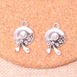 Hat Making Crafts Australia - 60pcs Antique Silver Plated Ms. Cap hat Charms Pendants fit Making Bracelet Necklace Jewelry Findings Jewelry Diy Craft 16*25mm