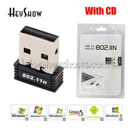 Usb Wifi Receiver For Laptop NZ - Mini USB Adapter High Speed Wireless Wifi Adapter Receiver External Dongle 150Mbps 802.11n b g Network Card With CD For Desktop Laptop
