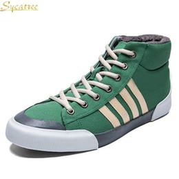 $enCountryForm.capitalKeyWord Australia - Sycatree Summer Winter Casual Shoes for Men Canvas Shoes Snow Boots Four Strips Bars Cotton Lace-up Flats Zapatos Hombre