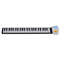 kids stickers roll Canada - Portable 49-Key Silicon Electronic Keyboard Roll-Up Piano Built-in Speaker With Cartoon Sticker for Children Kids