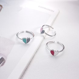 $enCountryForm.capitalKeyWord Australia - 100% 925 sterling silver pink red blue red love heart rings for women accessories finger ring femme anelli donna fashion jewelry