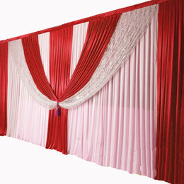 yellow stage curtains Canada - ice silk chiffon fabric elegant wedding backdrop swags drape curtain for wedding stage decoration event party
