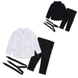 Gentlemen Shirt Style Australia - Boys Gentlemen outfits 3pc set 2 colors long sleeve Shirt+suspenders+trousers basic style solid color Kids clothing spring autumn birthday