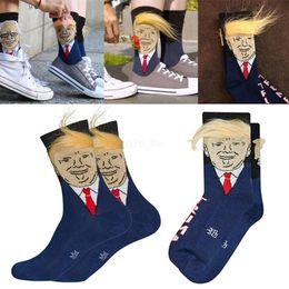 Hair crow online shopping - Women Men Trump Crew Socks yellow hair funny cartoon Sports Socks Stockings Hip Hop Sock Streetwear with comb LJJA2433