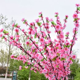 Red Yellow Party Decorations Australia - 100Pcs Artificial Cherry Spring Plum Peach Blossom Branch Silk Flower Tree For Wedding Party Decoration white red yellow pink 5 colors