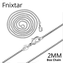 2mm box chain necklace Australia - Fnixtar New 2MM Fashion Jewelry Box Chain Women Necklaces for Jewelry Accessories 925 Stamp Chain Necklace Women Wholesale