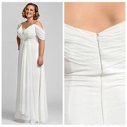 $enCountryForm.capitalKeyWord Australia - Wholesale Charming Ivory Plus Size Bridal Wedding Dresses Chiffon Spaghetti Straps Pleated Beads Draped Sleeve Bridal Gowns