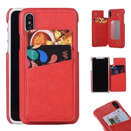 Pocket Mirrors For Wholesale Australia - Fashion PU Wallet Phone Case with Card Slot Mirror Holder Kickstand Shockproof Back Cover For Iphone x 8 7 6 6s plus OPP Bag Aicoo
