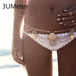 metal belly chain Australia - 3UMeter Metal Body Chain for Women Sexy Waist Chain Bohemian Tassel Belly Bikini Beach Gift Drop Shipping
