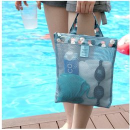 $enCountryForm.capitalKeyWord Australia - Fashion Ladies Swmming Beach Bag Mesh Handbag Swimwear Storage Bags Travel Wash Packet Cosmetic Makeup Bag Orgnizer Women Tote Bags 4 Color