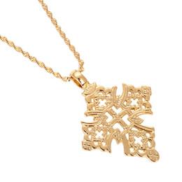 $enCountryForm.capitalKeyWord Australia - Ethiopia Cross Necklace for Women Men Gold Color Ethiopian Jewelry African Ethnic Gift