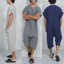 $enCountryForm.capitalKeyWord Australia - Vintage Plain Men Jumpsuits Rompers V Neck Arab Kaftan Overalls Working Pockets Trousers Muslim Islamic Male Clothes Masculina