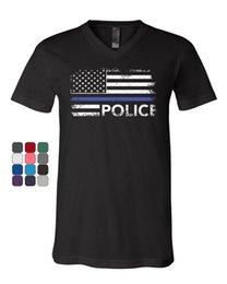 595e497e7fe3 Police Stars And Stripes V-Neck T-Shirt Distressed Thin Blue Line Flag Tee  T Shirt XXXL Short Sleeve Mens T Shirts Fashion 2018 Summer Hot S