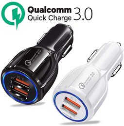 carregador iphone rápido venda por atacado-QC3 CE FCC ROHS Certified Quick Charge Dual USB Port Fast carregador de carro para iPhone Samsung Huawei Tablet
