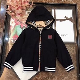 female woolen jackets Australia - Children jacket kids designer clothing male and female hooded jacket woven cotton fabric lining classic plaid autumn coat