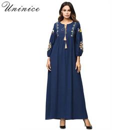f6c3007bced Embroidery Cotton Linen Muslim Abaya Stitching Long Robe Long Sleeved  Kimono Loose Ramadan Arabic Turkish Islamic Clothing Dress