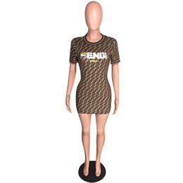 d5f6f086987d Summer Women Bodycon Mini Dress F Letters Print Short Sleeve Crew Neck Short  Skirt Brand T Shirt Dresses Work Club Party Wear New C43008