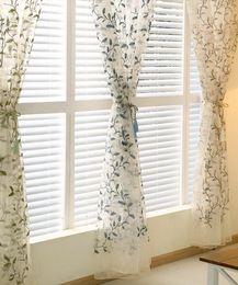 WindoWs european online shopping - Idyllic flower curtain window screen Sheer Curtains New rural European modern living room bedroom embroidered three color leaf screen