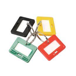 $enCountryForm.capitalKeyWord UK - Simple 100 PCS Plastic Keychain Luggage Key Tags 4 Style ID Label Name Key Tags Split Ring Keyrings Keychains
