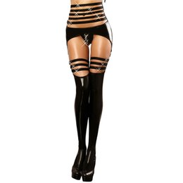$enCountryForm.capitalKeyWord Australia - Sexy Patent Leather Bodysuits Party Leotard Wet Look Latex Catsuit Fetish Garter Belt with Stocking Women Clubwear Jumpsuits