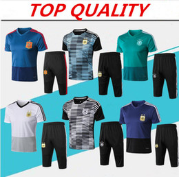 b050d717e00d7 Germany jersey 2018 World Cup training suit short sleeve 3 4 pants  tracksuit 18 19 maillot de foot Argentina Spain football shirt