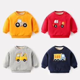 Discount boy winter cars - Baby Boys Hoodies Winter 2018 Velvet Cartoon Car Cute Shoulder Button Hoodies Newborn Infant Pullover Soft Sweatshirt Re