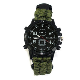 Survival ropeS online shopping - 10in1 tactical watch Outdoor Paracord rope survival bracelet cord Watch Survival Gear compass whistle Reflector sos flashlight thermometer