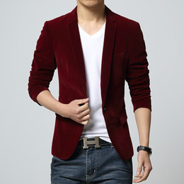 Clothes Single Australia - 2018 Mens Blazer Brand Clothing Casual Suit Slim Jacket Single Button Corduroy Blazer Men Dress Suits Terno Masculino Plus Size Y190420