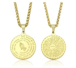 white gold coins NZ - Hot Sale Unisex 29mm Pendant Necklaces Vintage Mens Gold Link Chain Titanium Steel Round Coin Scripture Necklaces Jewelry Gift