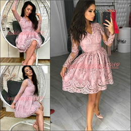 black cocktail dresses v neck 2019 - Beautiful Sheer 2019 Long Sleeve Homecoming Dresses Club Wear Tulle Lace Applique V-Neck Arabic Short Prom Dress Cocktai