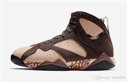 Mink Shoes Australia - 2019 Newest Authentic Patta x Air 7 OG SP Shimmer Retro Tough Red MAHOGANY MINK VELVET BROWN AT3375-200 Men Basketball Shoes With Box