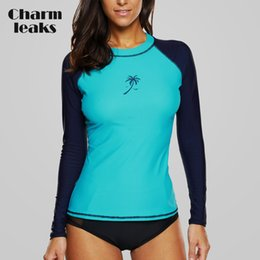 2c036077238 Charmleaks Women Rashguard Swimwear Long Sleeve Rash Guard Surfing Top  Colorblock Swimsuit Bike Biking Shirts Upf50+ Beach Wear C19041001