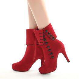 1a0b953223 Botas de invierno y botines para damas de tacón australiano Martin botas  marca diseñador suede rojo negro cremallera botas moda 2019 clásico US4-12