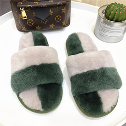 Discount home wear slippers - New arrival lady natural fur warm slipper sandals women wear outside at home real sheep shearling fur
