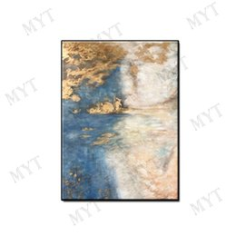 Decor Abstract Australia - Hot sale Abstract wall art home decor Hand-painted acrylic decoration Oil Painting on canvas gold plating sky for living room no framed