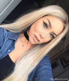 straight blonde wig roots Australia - 24inces Fashion Ombre Blonde Glueless Lace Front Wigs Dark Roots Side Part Long Natural Straight Heat Resistant Synthetic Hair Replacement