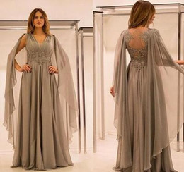Green draped dress online shopping - Cheap Elegant Chiffon Illusion Back Mother Of The Bride Dresses With Lace Applique Beads Ruched V Neck Mother Groom Dress Evening Gown
