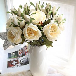 "white rose painted red Australia - European Fake Round Rose (2 heads piece) 18.5""Length Simulation Oil Painting Roses for Wedding Home Decorative Artificial Flowers"