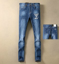 Wholesale prices jeans new for sale – denim Men s blue pants Denim jeans trousers New product prices fashion Pretty Cool White leather logo