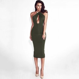 $enCountryForm.capitalKeyWord Australia - Womens Dresses 2019 Summer New Sexy Metal Halter Dress Sexy V Neck Bag Hip Club Skirt Tight Solid Color Dress 5 Colors