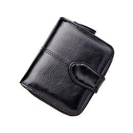 Fine Coins Australia - Small PU Coin Pocket Fabala Short Card Slots Multifunction Money Bag Fine Lining Purse Zipper Women Wallet Buckle 5 Colors