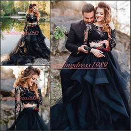 a466c8c5fd Sexy Sheer Two Pieces Gothic Black Wedding Dresses Long Sleeve Lace Country  Arabic Formal Plus Size Vestido de novia Bridal Gown Bride Ball