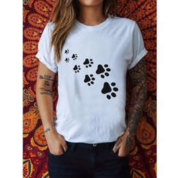 wholesale paw print Australia - Women Cat Paws Print T Shirt Harajuku Tops Summer Short Sleeve Funny T-Shirt Hipster O-Neck White Tshirt Ladies Tee Shirt Femme