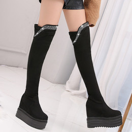 sexy thigh high rubber boots NZ - High Heels Boots Women Long Over Thigh Knee High Wedge Boots With Platform Booties Lady Sexy Winter Shoes