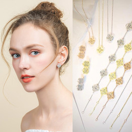 Discount gold shell clover necklace - Fashion brand 925 silver four leaf flower jewelry set for women wedding necklace bracelet earrings white mother pearl sh