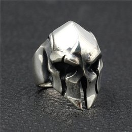 $enCountryForm.capitalKeyWord NZ - Punk Mens Vintage Ring Stainless Steel Spartan Warrior Mask Rings for Men Strange Mask Rings Jewelry Gift